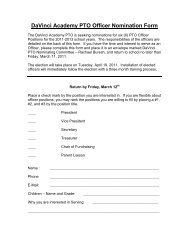 DaVinci Academy PTO Officer Nomination Form