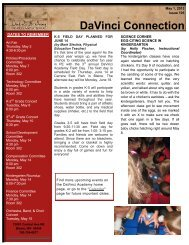 see May 1 newsletter article - DaVinci Academy of Arts and Science