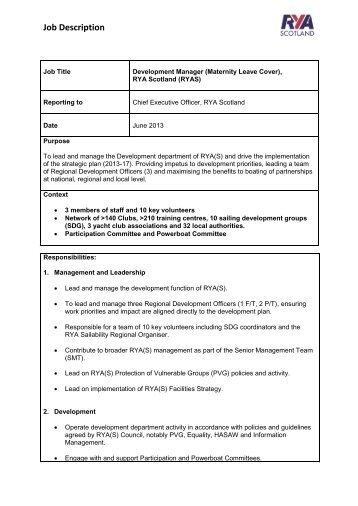 Job Description Rugby Development Manager
