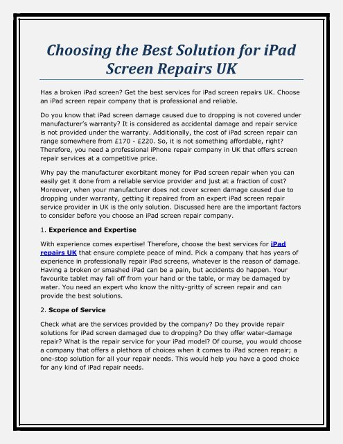Choosing the Best Solution for iPad Screen Repairs UK