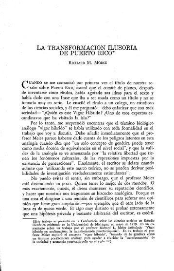 la transformacion ilusoria de puerto rico - Revista de Ciencias ...