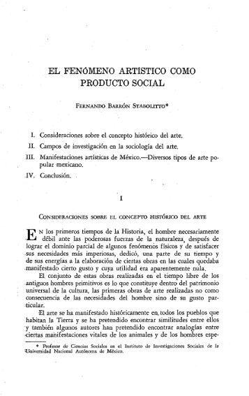 EL FENóMENO ARTíSTICO COMO PRODUCTO SOCIAL