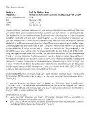 Prof. Dr. Michael Stolz Proseminar Poetik des höfischen Erzählens im