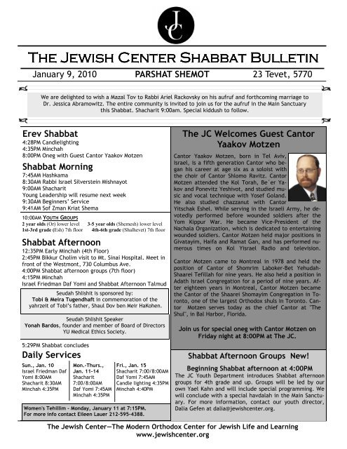 Jan 9 2010 SB pdf - The Jewish Center