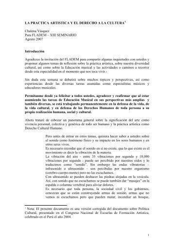LA PRACTICA ARTISTICA Y EL DERECHO A ... - Chalena Vásquez
