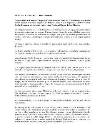 Tributo a Manuel Acosta Ojeda - Chalena Vásquez