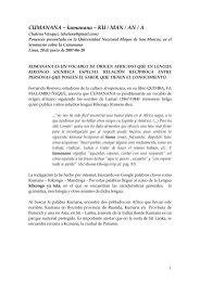 CUMANANA – kumanana – KU / MAN / AN / A - Chalena Vásquez