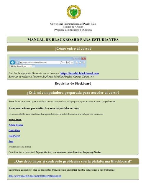 Manual De Blackboard Para Estudiantes Recinto De