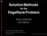 Solution Methods for the PageRank Problem - Carl Meyer - North ...