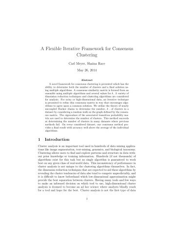 A Flexible Framework for Consensus Clustering - Carl Meyer - North ...