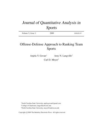 Journal of Quantitative Analysis in Sports - Carl Meyer - North ...
