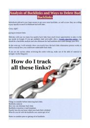Analysis of Backlinks and Ways to Delete Bad Backlinks