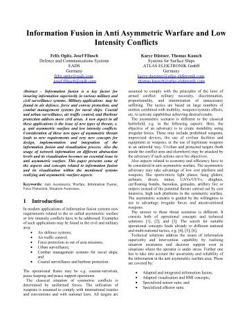 Information Fusion in Anti Asymmetric Warfare and Low Intensity - ISIF