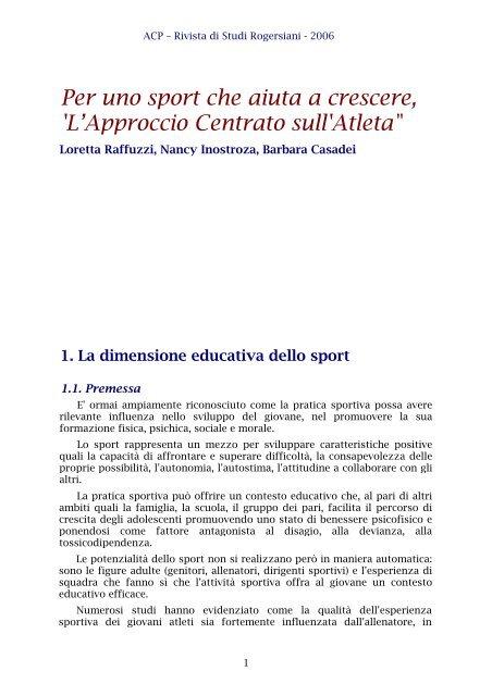 Per Uno Sport Che Aiuta A Crescere L Approccio Centrato Sull Acp