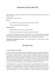 Proposition de sujet de thèse 2012 - Inra