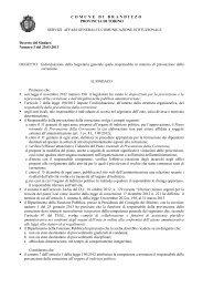 Decreto del Sindaco di individuazione responsabile anticorruzione