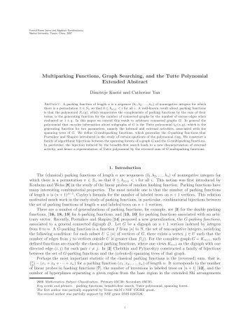 Multiparking Functions, Graph Searching, and the Tutte Polynomial ...