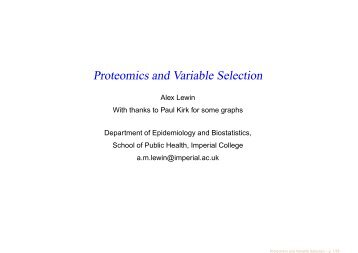 Proteomics and Variable Selection