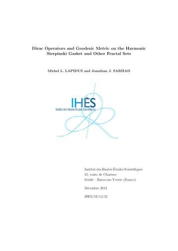 Dirac Operators and Geodesic Metric on the Harmonic ... - IHES