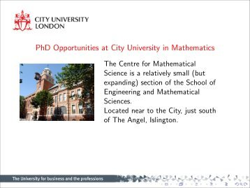 PhDs in Mathematical Sciences at City University