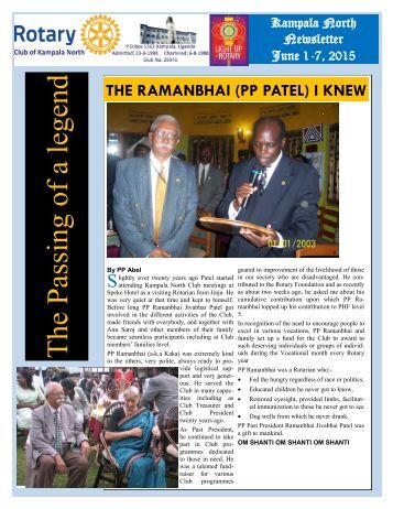 RC Kampala North Bulletin-June 1, 2015: The Passing of a legend