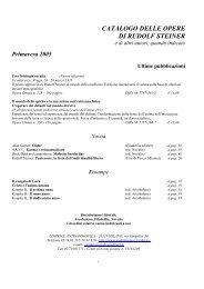 catalogo delle opere di rudolf steiner - Libera Conoscenza