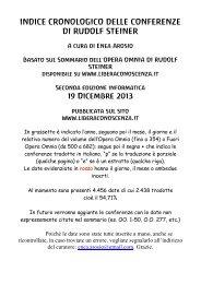 cronologico delle conferenze di Rudolf Steiner - Libera Conoscenza