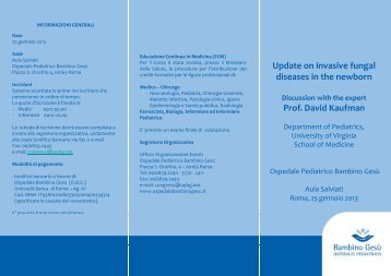 Update on invasive fungal diseases in the newborn Prof. David ...