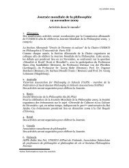 Journée mondiale de la philosophie 19 novembre 2009 Activités ...