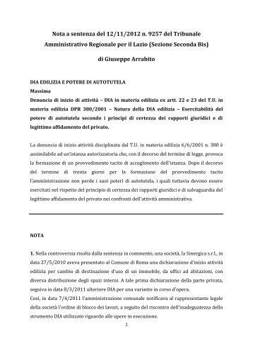 Nota a sentenza del 12/11/2012 n. 9257 del Tribunale ... - Pausania