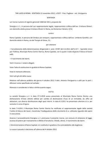 tar lazio 9257_2012 - Pausania