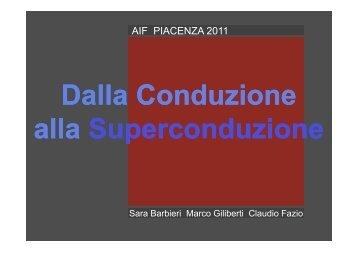 Dalla Conduzione alla Superconduzione - Dipartimento di Fisica