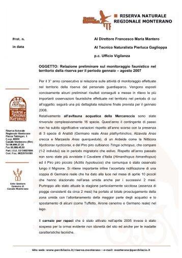 Relazione preliminare sul monitoraggio faunistico nel territorio della ...