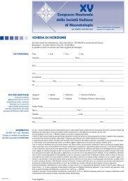 SCHEDA DI ISCRIZIONE - SIN :: Congresso 2009 - Società Italiana ...