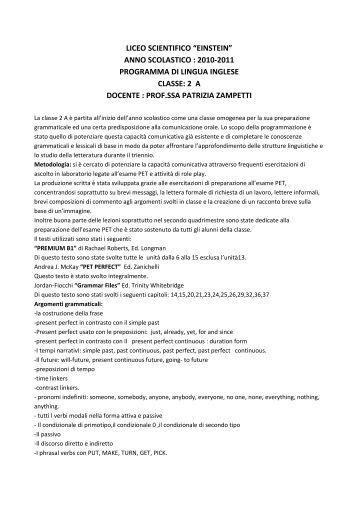 Progettazione di classe 2 lingua inglese istituto for Programma progettazione