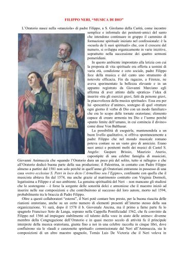 articolo - Confederazione dell'Oratorio di San Filippo Neri