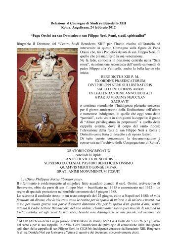 Relazione - Confederazione dell'Oratorio di San Filippo Neri
