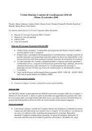 Verbale Comitato di coordinamento 25 settembre 2008 - GISCoR