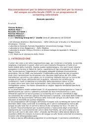 Raccomandazioni per la determinazione del test per la ricerca del ...