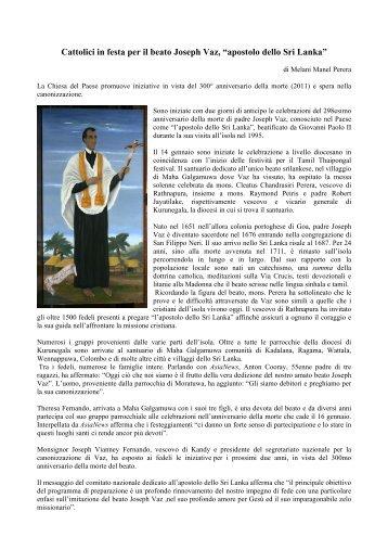 Leggi il servizio - Confederazione dell'Oratorio di San Filippo Neri