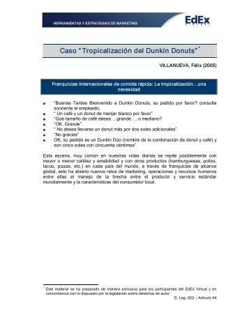 """Caso """" Tropicalización del Dunkin Donuts"""""""