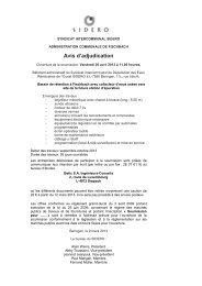 Avis d'adjudication - SIDERO