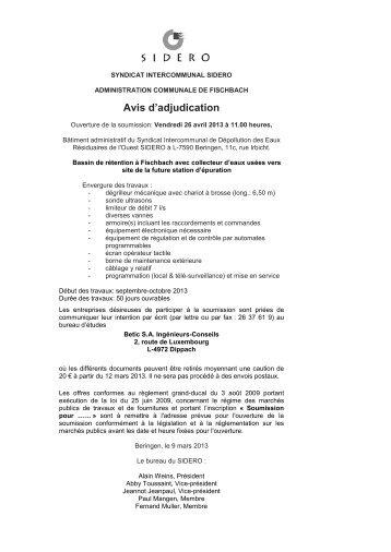 Avis d'adjudication - SIDERO