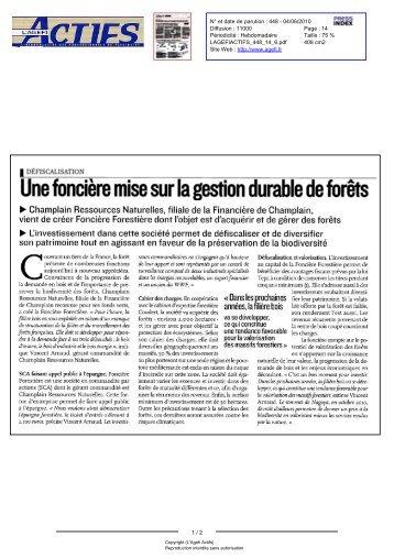 Agefi Actifs (L') N° 448 - 04/06/2010 - 6 - Foncière Forestière