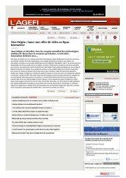 Atos Origin : lance une offre de vidéo en ligne interactive - Agefi.fr