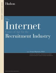 Internet Comes of Age for the Recruitment Industry - Hudson