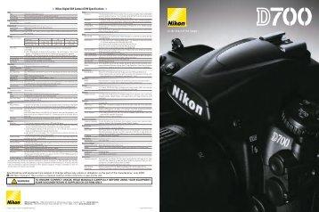 Nikon Digital SLR Camera D700 Specifications
