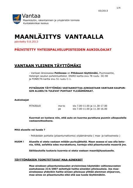 Maanlajitys Vantaalla Vantaan Kaupunki