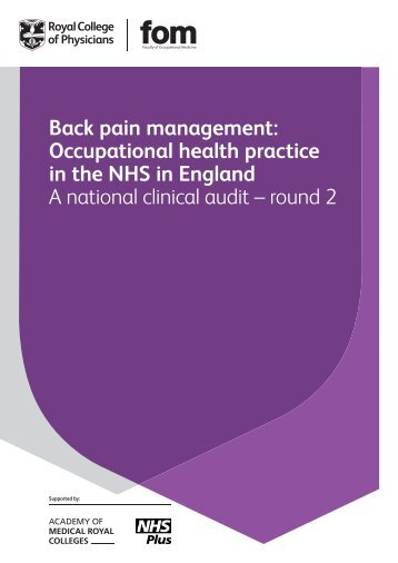 Back pain management: ful report - NHS Health at Work