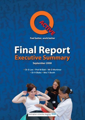 Final Report - NUH Active Bookings Homepage - Helping you enjoy ...
